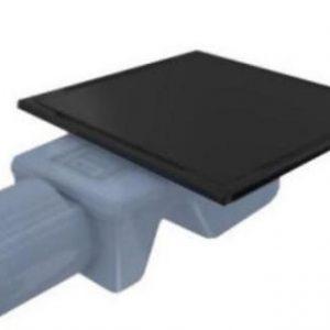 Трап INOX-S 590 VFD-774615 15x15 cm Чорна решітка. Боковий відвід. фото