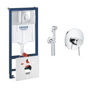 Комплект Grohe інсталяція Rapid SL 38721001 + набір для гігієнічного душу зі змішувачем BauClassic 2904800S