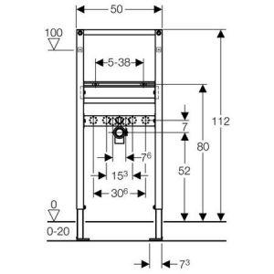 Geberit Duofix монтажний елемент для підвісного умивальника, висота 112 см